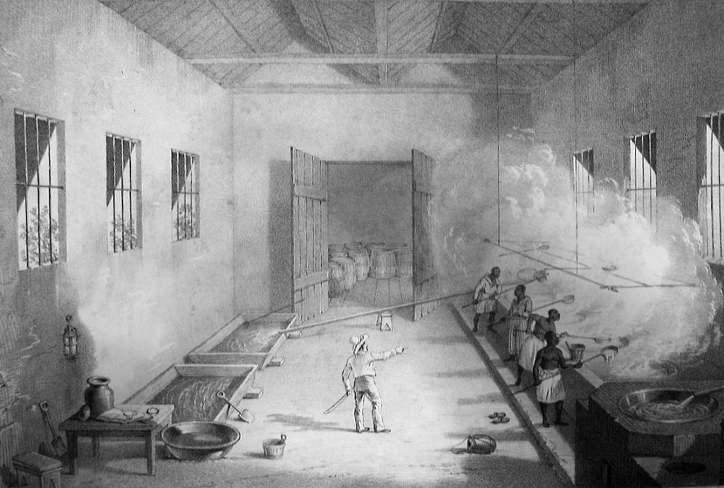 一幅描绘19世纪西方熬糖作坊的版画,藏于大英图书馆,作者R.Bridgens。