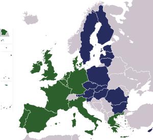 1993年后欧盟的东扩(蓝色为新成员国)(来源:Wikipedia)