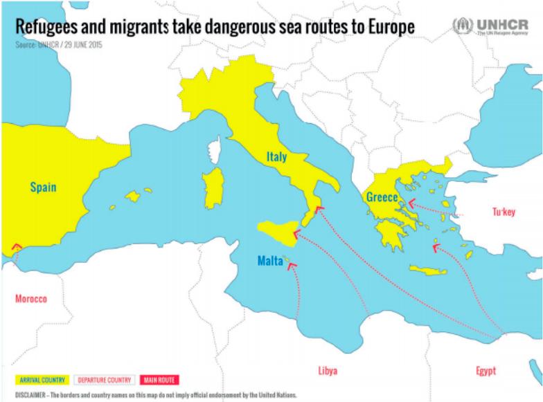 北非、中东难民前往欧洲的海上偷渡路线(图片来源:UNHCR)
